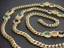 Goldkette mit 15,00 Carat Brillanten, Smaragde, Saphire in Gold 585 Collierkette