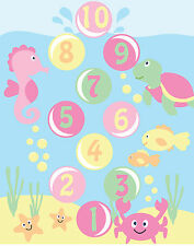 Under the Sea - PASTEL Colours - Fish-Baby Craft Quilt Cot Panel -Cotton Fabric