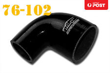 """4 Ply Silicone 90 Degree Reducer Elbow Joiner Hose Pipe 76mm-102mm 3""""- 4"""" Black"""