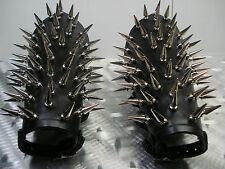 LEATHER SPIKE GAUNTLETS. BLACK  METAL ....(MDLG0190)..... LIFELOVER'S