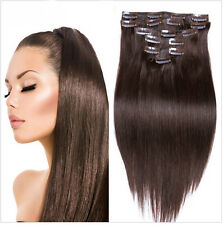 "Hot 100% Full Head Clip In Remy Human Hair Extensions 15"" 18"" 20"" 70g Hair Weft"