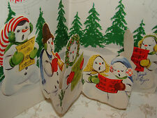 Pop-up - Chorus of 7 Snowmen, Snowman - 40's Vintage Christmas Greeting Card