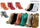NEW Fashion Strappy Caged Kitten Chunky Heel Women's Sandal Shoes Size 6 - 11