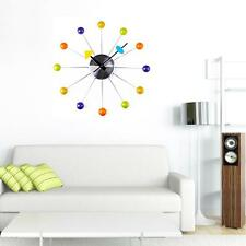 Vintage Wooden Wall Clock European Retro Rustic Style Round Colorful Home Silent