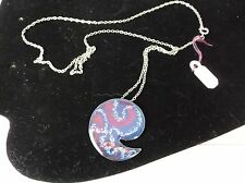 VINTAGE KELLY WATERS SILVER TONE COLORFUL YIN YANG SHAPE PENDANT CHAIN NECKLACE