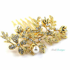 Bridal Wedding Vintage Vine Flower Crystal & Pearl Gold Hair Comb Slide HC12
