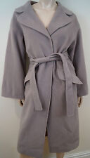 ALBERTA FERRETTI Made In Italy Grey Wool & Cashmere Long Length Belted Coat UK12