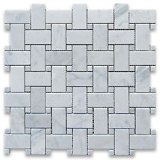 Carrara White Carrera Marble Basketweave Mosaic Tile Carrara Dots 1 x 2 Honed