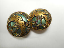 "Matching Pair Green Enamel Art Nouveau Brass Antique Buttons 13/16"" RS"