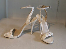 Brian Atwood Designer Snakeskin Cream Leather High Heel Stiletto Shoes Sandals