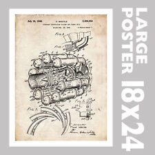 1946 FIRST US JET AIRPLANE ENGINE FRANK WHITTLE PATENT PRINT 18X24 GIFT POSTER