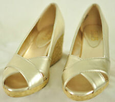 "women's Chaps wedge shoes size 8.5B casual gold matellic solid design 3"" heel"