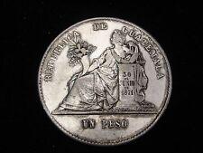 1872 P Guatemala Peso Silver Coin Looks VF Km #197.1