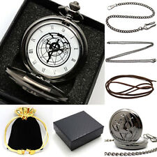 Retro Black Fullmetal Alchemist Necklace Quartz Pocket Watch Chain Set+Gift Box