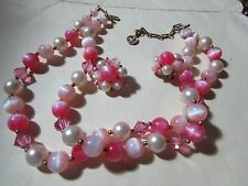 "VINTAGE ANTIQUE goldtone LISNER 15-18"" necklace & clip earrings pink/white beads"