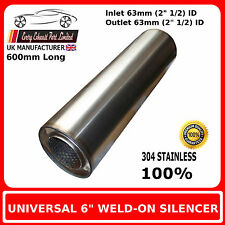 """6"""" x 24"""" Weld On Stainless Steel Silencer Exhaust Box Body, 2"""" 1/2"""" (63mm) Bore"""