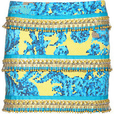 RETAIL $1780 NWT Versace Collection Women Aqua Blue Skirt Pearl Embroidery SIZ 4