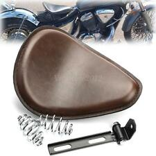 "Motorcycle Brown Skull Leather 3"" SOLO Spring Bracket Seat For Harley Sportster"