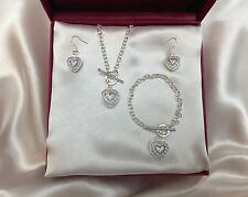 Crystal Purple Heart Necklace Earring Bracelet Set 925 Silver CHRISTMAS SALE!