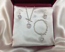 Crystal Purple Heart Necklace Earring Bracelet Set 925 Silver SALE!