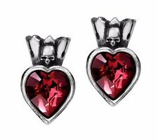 NWT Claddagh Skull Crown Red Crystal Heart Studs Earrings Alchemy Gothic E379
