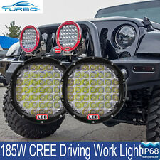 Pair 9 Inch Black LED Work Light 185W CREE Spot Driving Lamp Offroad HID 12V 24V