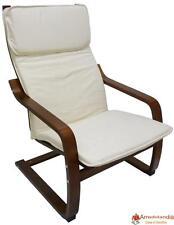 Poltrona sedia divano in legno noce con cuscino bianco imbottito casa salotto