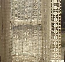 Set 4 Vintage French lace curtains nets Drapes Oyster Oatmeal with silk fringe