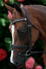 NEW Havana Leather Silver Chain V Horse Bridle padded reins - All sizes