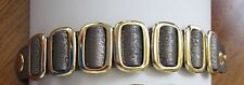 New Metallic Silver Leather Snap closure Rocker Bracelet Wrist Band cuff gold
