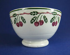 Antique Spongeware ~ Stencilledware Pottery Bowl ~ Leaves & Cherries Border