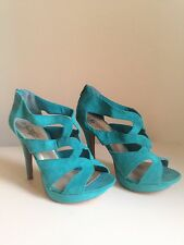 Ladies New Look Vivid Emerald Green Stiletto Wedge Sandals Shoes Size 6