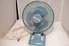 "Vintage 6"" Cool-Breeze 2 Speed Desk Fan Model CS-6FN Aqua Color"