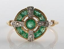 LOVELY 9 Carati 9k oro colombiano Emerald DIAMOND ART DECO INS Anello libero ridimensionamento