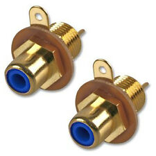 RCA Phono Chassis Panel Mount Gold Plated Female Socket Connector Blue x 2