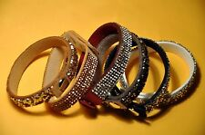 Wholesale wrap rhinestone leather cuff bracelet 6pc set multi color crystal stud
