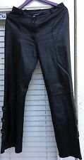 Black women leather pants with buckles, size L, tall