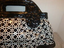 Frill Vinyl Black and White Bag Clutch Geometric Design Purse Vera Bradley