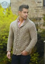 KNITTING PATTERN Mens Long Sleeve Cable Jacket with Roll Collar Aran KC 4240
