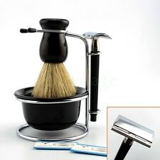 Men Gift 4in1 Black Shave Stand + Bristle Brush + Bowl + Safety Razor Travel Set