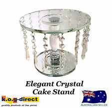 WEDDING ENGAGEMENT 23.5CM ROUND CRYSTAL CAKE STAND WITH HANGING CRYSTALS HW-65