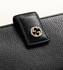NEW Gucci Women's Black Miss Gg Leather Continental Wallet BOX RIBBON GIFT BAG