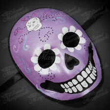 Womens Day of the Dead Skeleton Skull Halloween Masquerade Mask Purple Skull