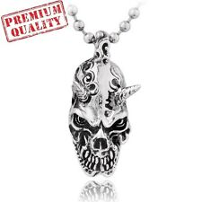 Vintage Devil Skull Titanium Stainless Steel Men's Pendant with Necklace