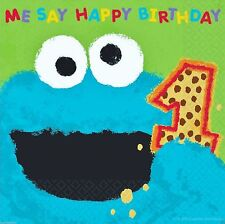 Sesame Street 1st Birthday Cookie Monster Lunch Napkins 36pcs Party Supplies