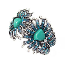 Peacock Peahen Peafowl Feathers Wide Cuff Bracelet Bangle Turquoise VTG Design