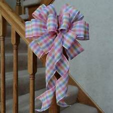 """10"""" WIDE PASTEL BOW~PINK BLUE YELLOW WHITE PLAID~BABY SHOWER DECORATION GIFTS"""