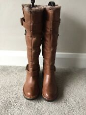 New Ladies Dune TOODING Faux Fur Lined Knee High Brown Leather Boot Sz UK 4 £150