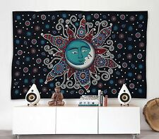 Sun Moon Bohemian Psychedelic Floral Indian Hippie Tapestry Throw Wall Hanging