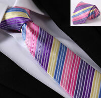 Mens Tie Pink Rainbow - Satin Purple Blue & Yellow - SALE Wedding Stripe Necktie